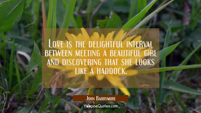 Love is the delightful interval between meeting a beautiful girl and discovering that she looks lik
