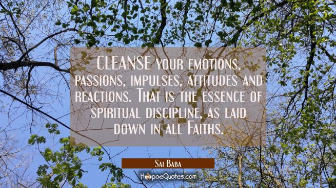 CLEANSE your emotions passions impulses attitudes and reactions. That is the essence of spiritual d