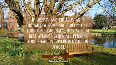 If liberty and equality as is thought by some are chiefly to be found in democracy they will be bes