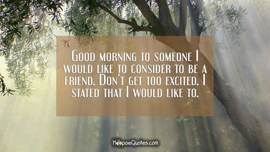 Good morning to someone I would like to consider to be a friend. Don't get too excited. I stated that I would like to. Good Morning Quotes