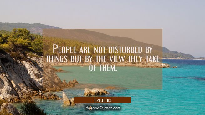 People are not disturbed by things but by the view they take of them.