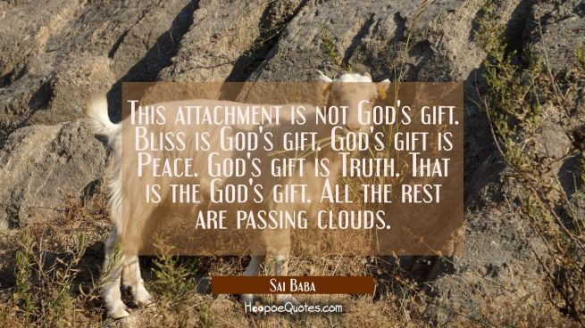 This attachment is not God's gift. Bliss is God's gift. God's gift is Peace. God's gift is Truth. T