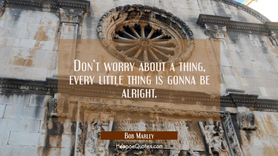 Don't worry about a thing, every little thing is gonna be alright. Bob Marley Quotes