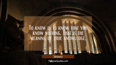 To know is to know that you know nothing. That is the meaning of true knowledge.