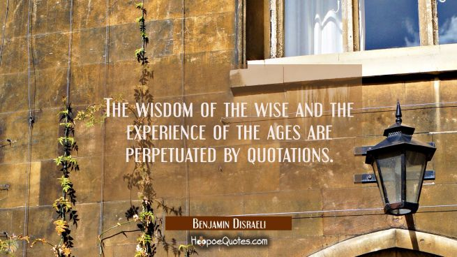 The wisdom of the wise and the experience of the ages are perpetuated by quotations.