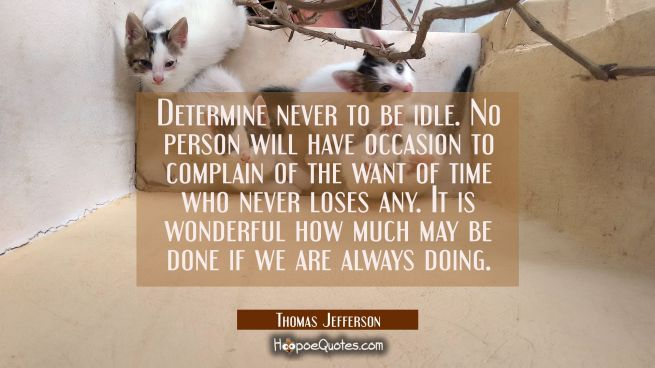 Determine never to be idle. No person will have occasion to complain of the want of time who never