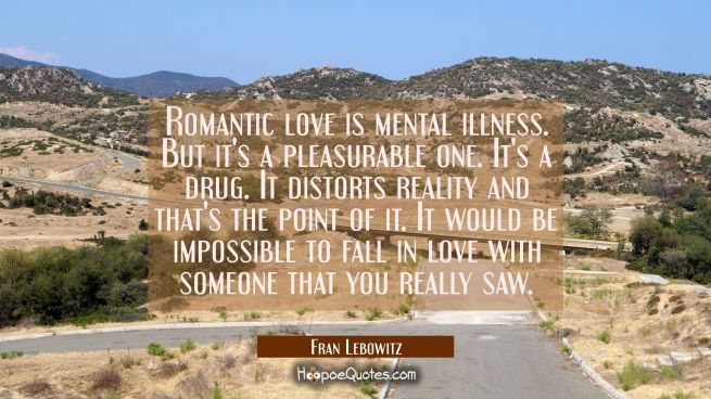 Romantic love is mental illness. But it's a pleasurable one. It's a drug. It distorts reality and t