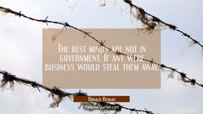 The best minds are not in government. If any were business would steal them away.