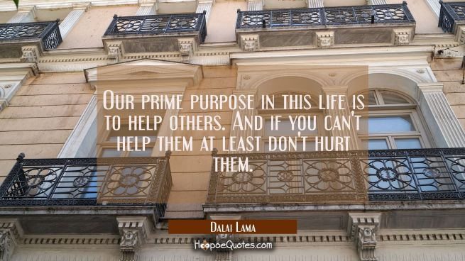 Our prime purpose in this life is to help others. And if you can't help them at least don't hurt th