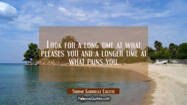 Look for a long time at what pleases you and a longer time at what pains you.