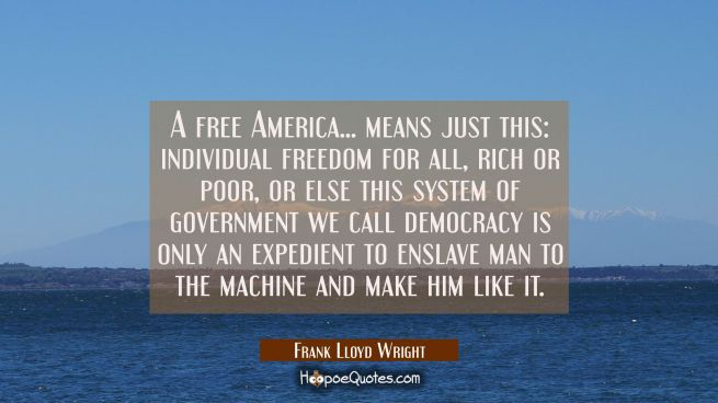 A free America... means just this: individual freedom for all rich or poor or else this system of g