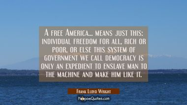 A free America... means just this: individual freedom for all rich or poor or else this system of g Frank Lloyd Wright Quotes
