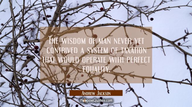The wisdom of man never yet contrived a system of taxation that would operate with perfect equality