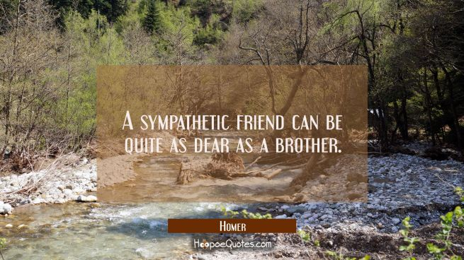 A sympathetic friend can be quite as dear as a brother.