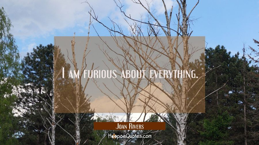 I am furious about everything. Joan Rivers Quotes