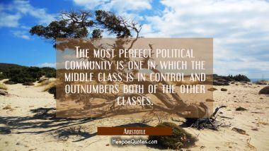 The most perfect political community is one in which the middle class is in control and outnumbers Aristotle Quotes