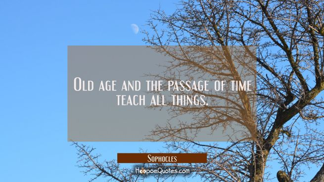 Old age and the passage of time teach all things.