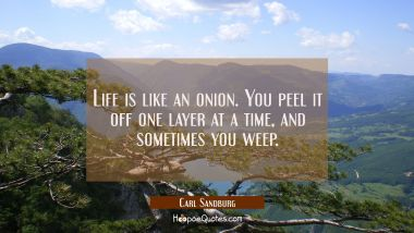 Life is like an onion. You peel it off one layer at a time and sometimes you weep.