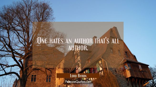 One hates an author that's all author