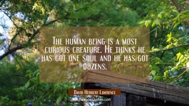 The human being is a most curious creature. He thinks he has got one soul and he has got dozens.