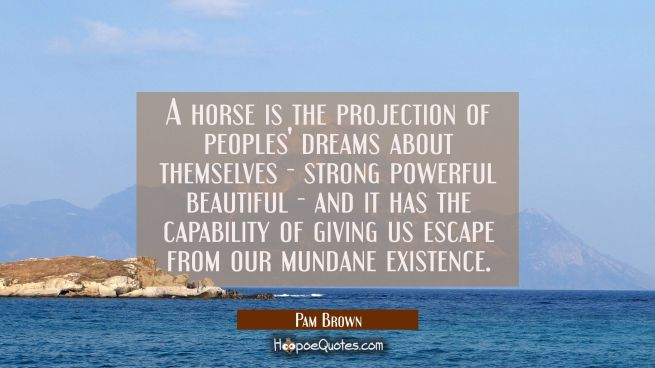 A horse is the projection of peoples' dreams about themselves - strong powerful beautiful - and it