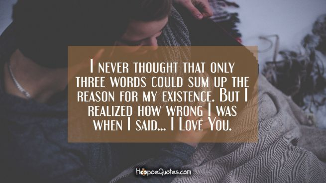 I never thought that only three words could sum up the reason for my existence. But I realized how wrong I was when I said… I Love You.