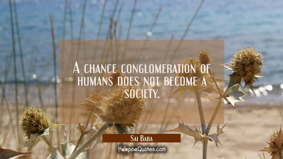 A chance conglomeration of humans does not become a society. Sai Baba Quotes