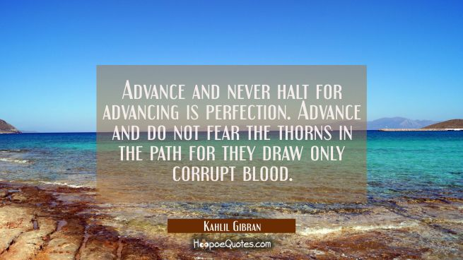 Advance and never halt for advancing is perfection. Advance and do not fear the thorns in the path