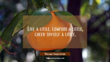 Live a little, comfort a little, cheer thyself a little.