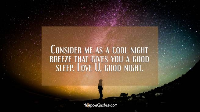 Consider me as a cool night breeze that gives you a good sleep. Love U, good night.