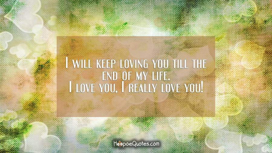 I will keep loving you till the end of my life. I love you, I really love you! I Love You Quotes