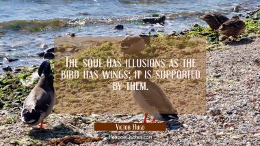 The soul has illusions as the bird has wings: it is supported by them.