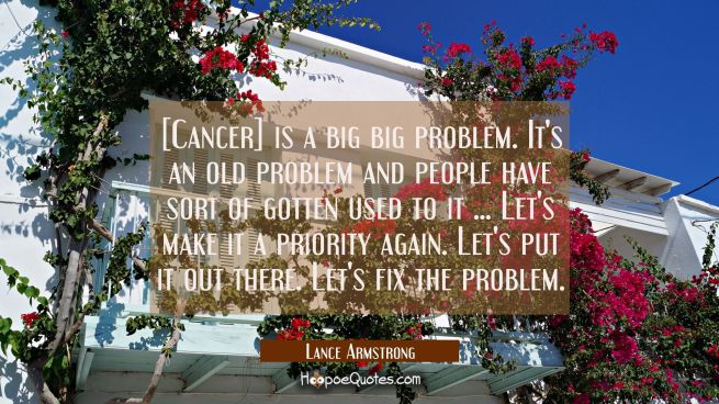 [Cancer] is a big big problem. It's an old problem and people have sort of gotten used to it ... Le