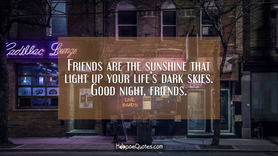 Friends are the sunshine that light up your life's dark skies. Good night, friends. Good Night Quotes