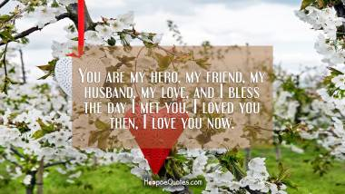 You are my hero, my friend, my husband, my love, and I bless the day I met you. I loved you then, I love you now. I Love You Quotes