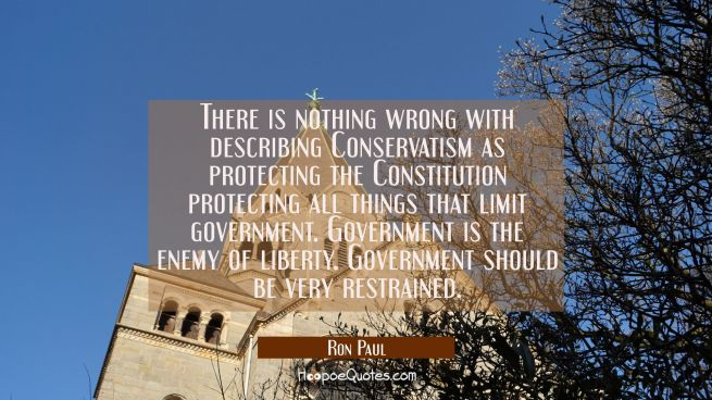 There is nothing wrong with describing Conservatism as protecting the Constitution protecting all t
