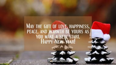 May the gift of love, happiness, peace, and warmth be yours as you make a new start. Happy New Year!
