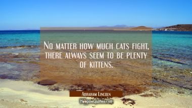 No matter how much cats fight there always seem to be plenty of kittens. Abraham Lincoln Quotes