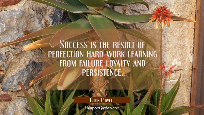 Success is the result of perfection hard work learning from failure loyalty and persistence.