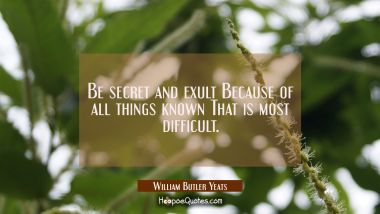 Be secret and exult Because of all things known That is most difficult.