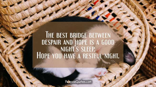 The best bridge between despair and hope is a good night's sleep. Hope you have a restful night.
