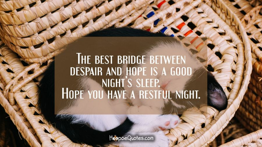 The best bridge between despair and hope is a good night's sleep. Hope you have a restful night. Good Night Quotes