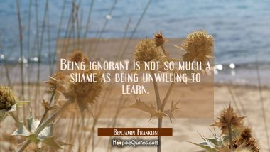 Being ignorant is not so much a shame as being unwilling to learn. Benjamin Franklin Quotes