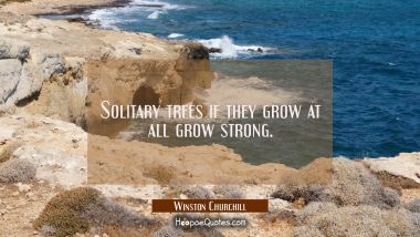Solitary trees if they grow at all grow strong.