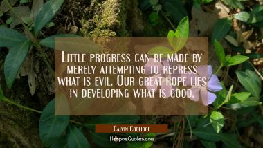 Little progress can be made by merely attempting to repress what is evil. Our great hope lies in de
