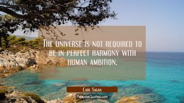 The universe is not required to be in perfect harmony with human ambition.