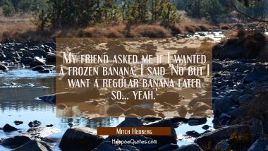 My friend asked me if I wanted a frozen banana. I said 'No but I want a regular banana later so...