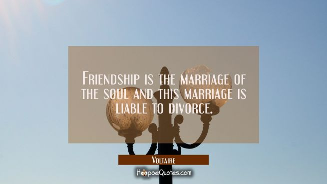 Friendship is the marriage of the soul and this marriage is liable to divorce.