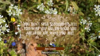 You don't need anybody to tell you who you are or what you are. You are what you are!