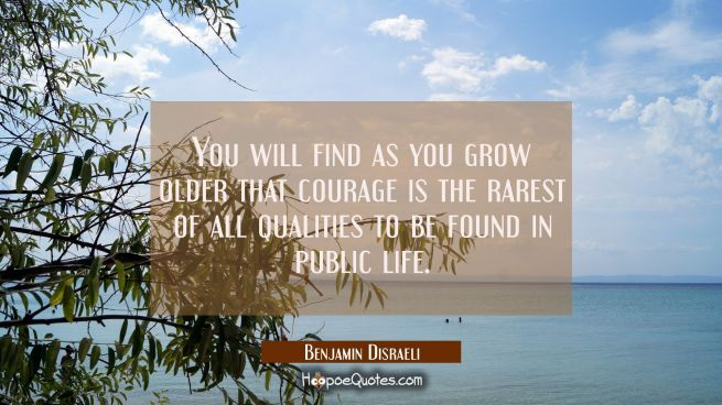 You will find as you grow older that courage is the rarest of all qualities to be found in public l